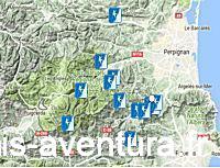 Carte des Canyons des Pyrénées Orientales